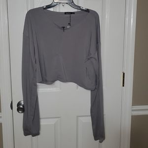 New Boohoo Sz 10 Oversized Slouch Long Sleeve Crop